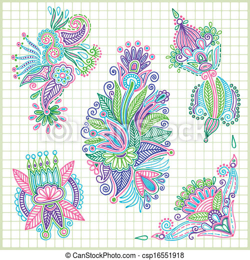 doodle vector flower element set - csp16551918