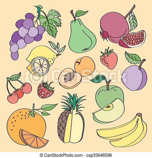 Doodle vector fruit - csp33646596