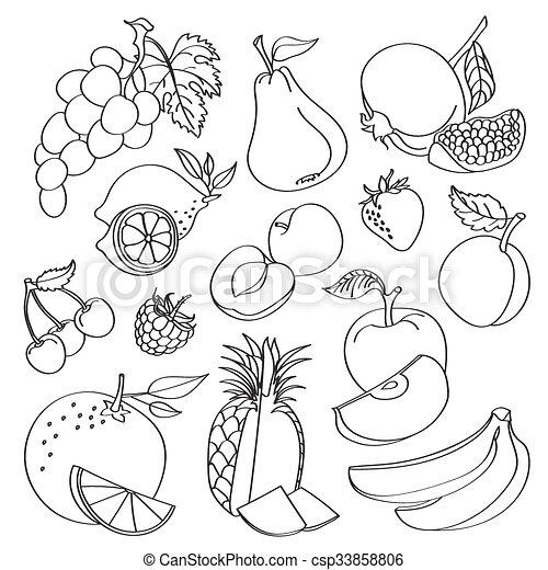 Doodle vector fruit - csp33858806