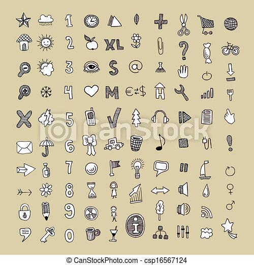doodle vector icon set - csp16567124