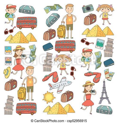 Doodle Vector Set Travel Vacation Adventure Children With Parents Preparing For Your Journey