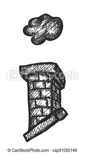 doodle, vetorial, ilustração, chaminé - csp31050149