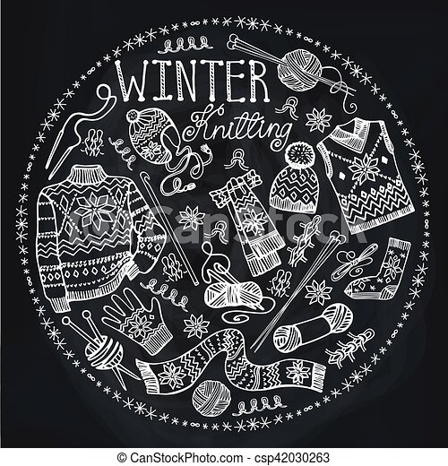 Doodle Winter Knittingcircle Compositionchalkboard Doodleswinter