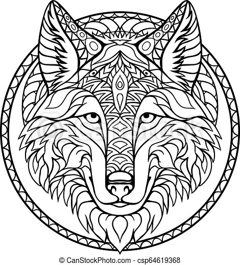 Doodle wolf coloring book outline drawing in vector. Hand drawn ...