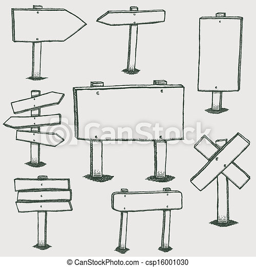 Doodle Wood Signs And Direction Arrows - csp16001030