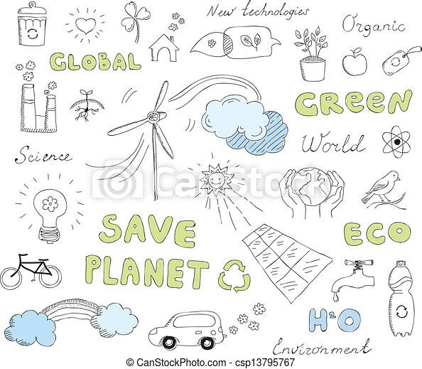 doodles, セット, ベクトル, エコロジー, 要素 - csp13795767