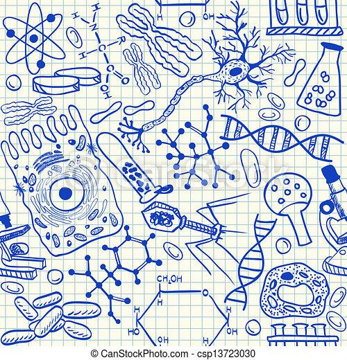 doodles, biologie, seamless, modèle - csp13723030