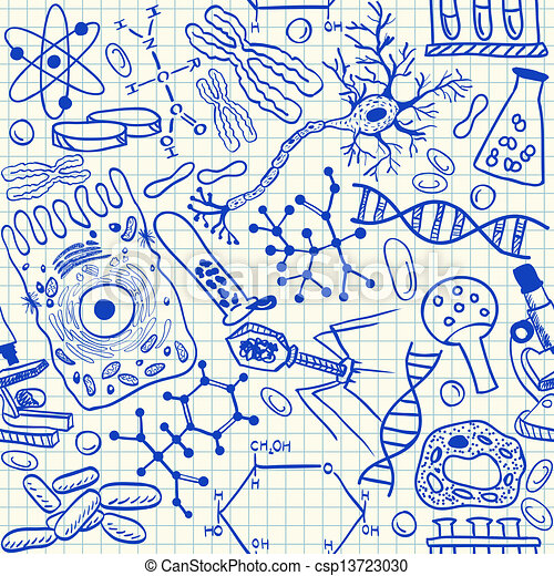 doodles, biologie, seamless, muster - csp13723030
