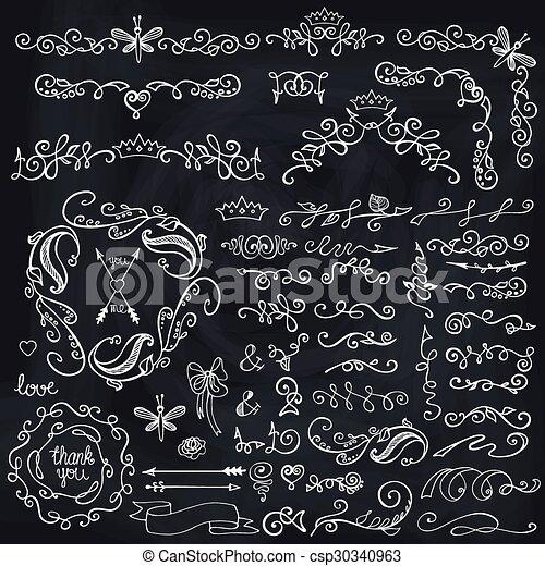 Doodles Border,brushes,decor.Floral Sketched Chalkboard   Csp30340963