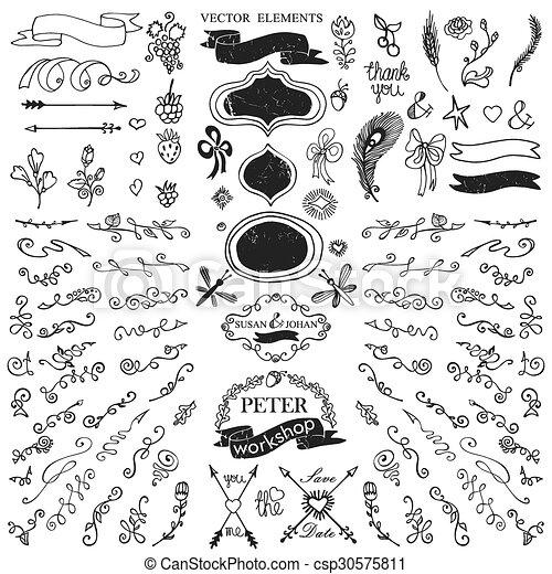 doodles border budges ribbons petal decor template doodles flowers