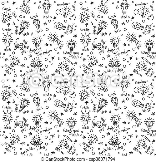 Doodles Creative Ideas Black And White Lines Seamless Pattern