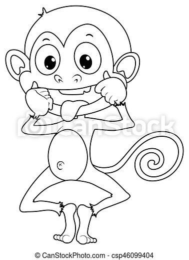 Doodles Drafting Animal For Cute Monkey Illustration