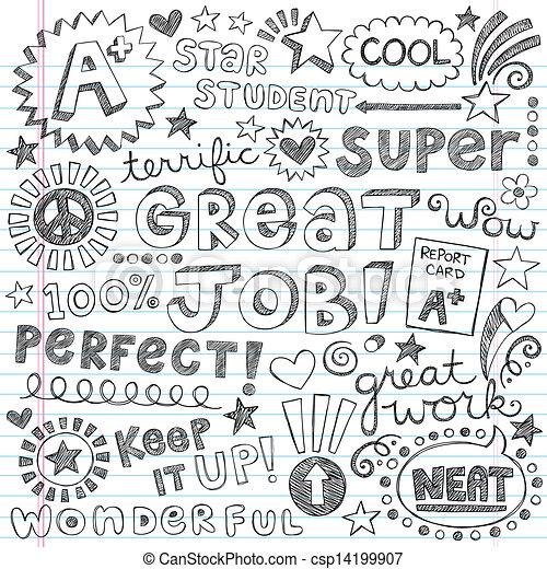 doodles, encorajamento, palavras, priase - csp14199907