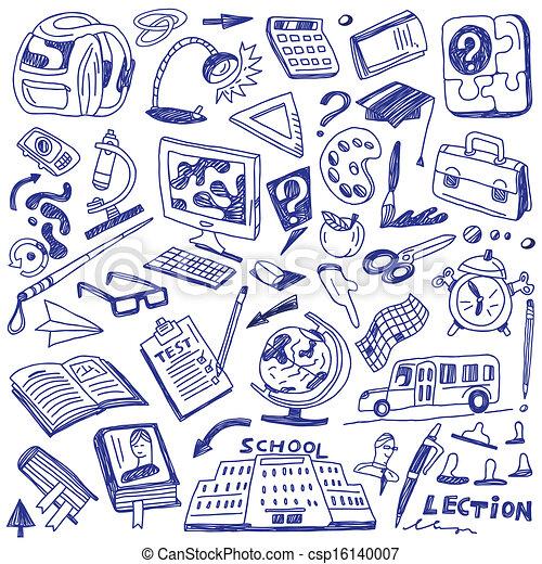 doodles, escuela, educación, - - csp16140007