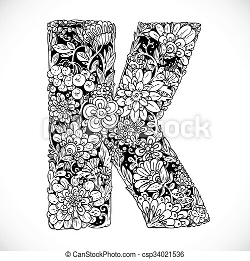 Doodles font from ornamental flowers letter k black and doodles font from ornamental flowers letter k black and white csp34021536 mightylinksfo
