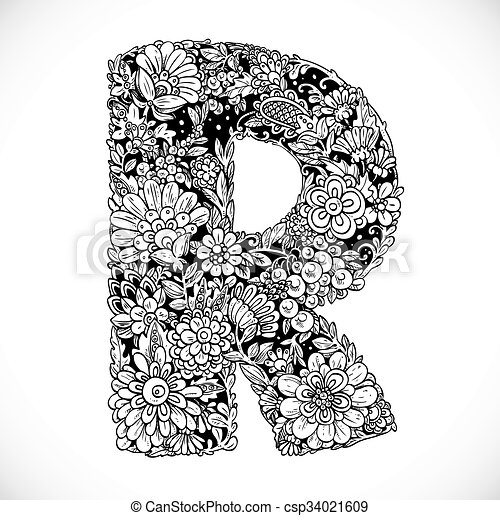 Doodles Font From Ornamental Flowers Letter R Black And White