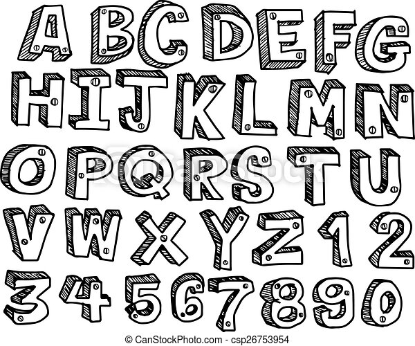 doodles font handwritten in 3d style vector illustration clipart rh canstockphoto com christmas font clipart font clipart online