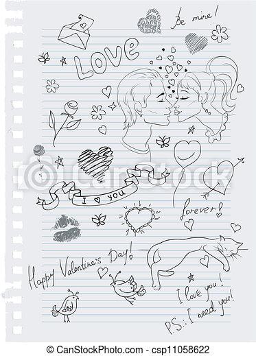 doodles, hand-drawn, 愛 - csp11058622