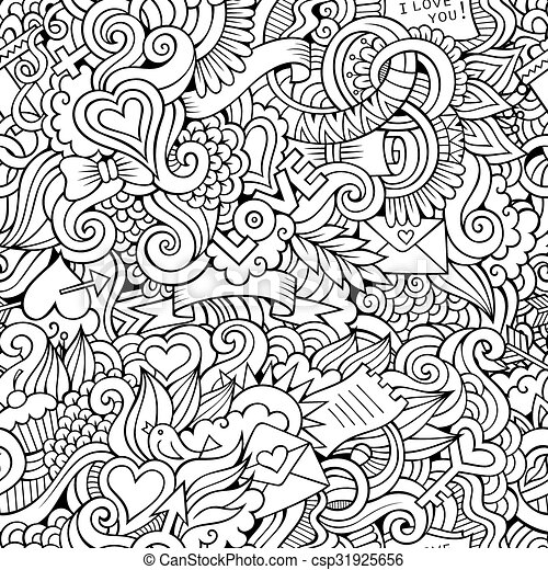 Doodles Love  sketchy seamless pattern - csp31925656