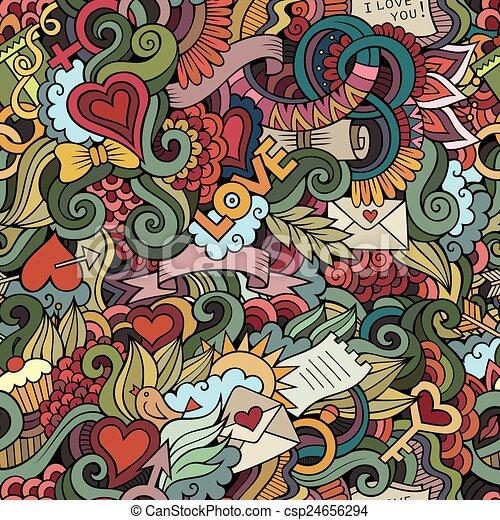 Doodles Love vector seamless pattern - csp24656294