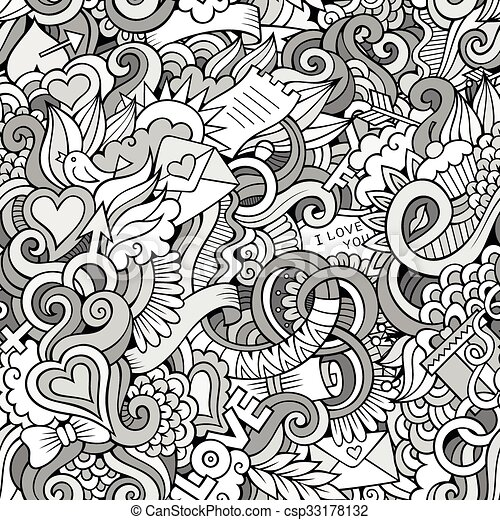Doodles Love vector sketchy seamless pattern - csp33178132