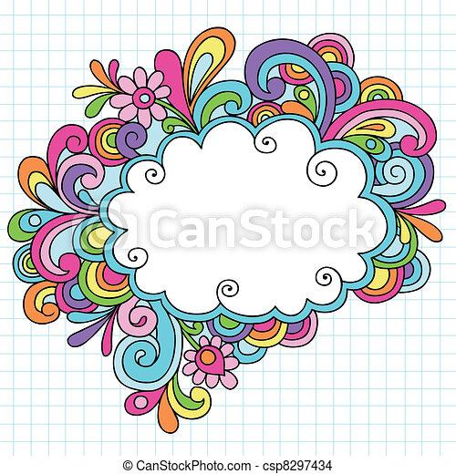doodles, marco, psicodélico, nube - csp8297434