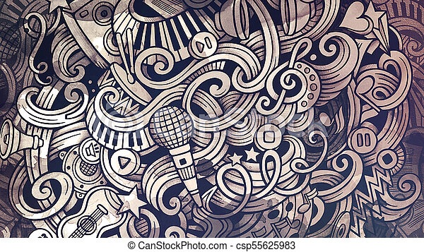 Doodles Musical Illustration Creative Music Background Graphics Stylish Raster Wallpaper