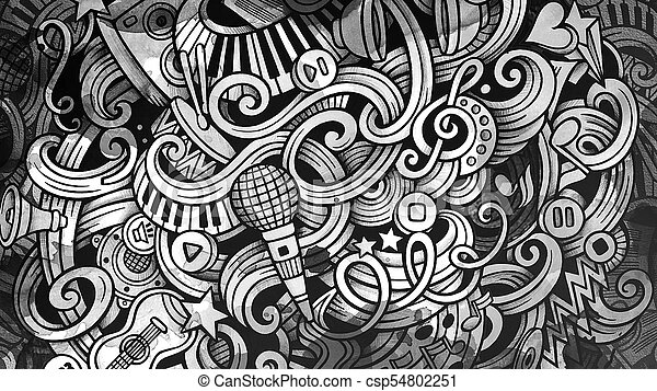 Doodles Musical Illustration Creative Music Background Graphic