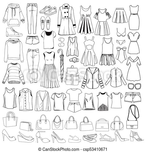 8e400cfaea615 doodles of fashionable Women clothes and accessories, hand drawn doodle  collection. - csp53410671
