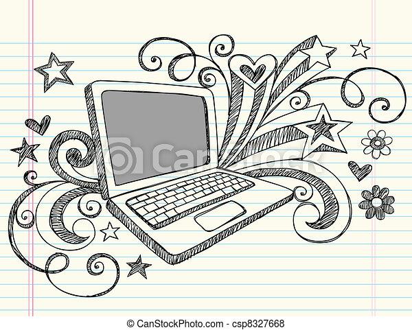 doodles, ordinateur portatif, sketchy - csp8327668