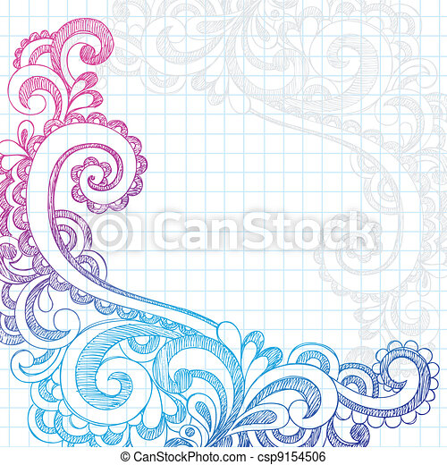 doodles, paisley, borda, sketchy, página - csp9154506