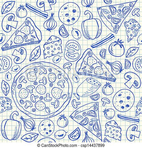 doodles, pizza, seamless, padrão - csp14437899