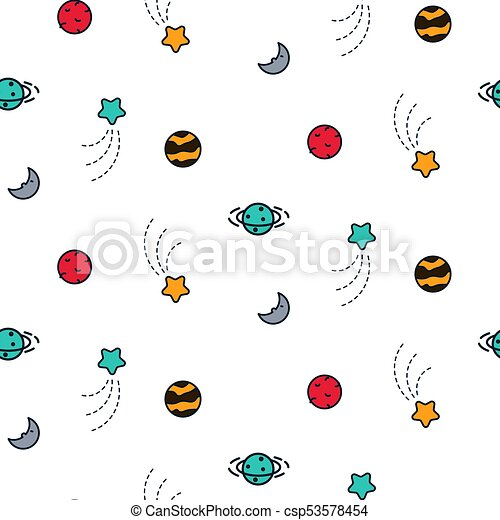 Doodles planet cosmic seamless vector pattern