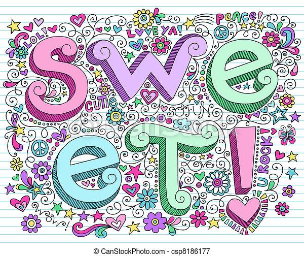 doodles, quaderno, giorno, valentine - csp8186177