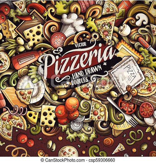 doodles, ram, vektor, tecknad film, pizza - csp59306660