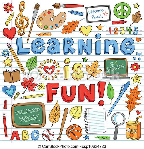doodles, scuola, set, indietro, cultura - csp10624723