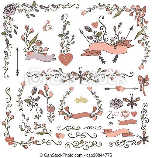 Doodles, set.floral, fronteras, coloreado, decoración. Decoración ...