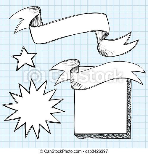doodles, sketchy, 旗幟, 紙卷, 框架 - csp8426397