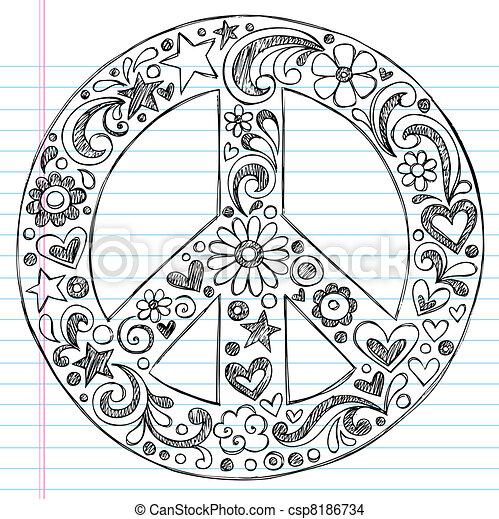 doodles, sketchy, notizbuch, friedensvorzeichen - csp8186734