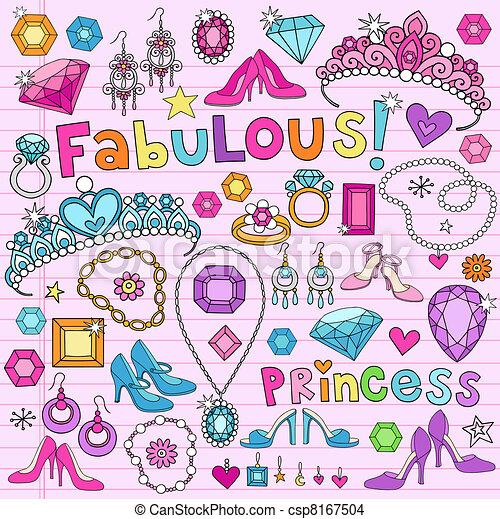 doodles, vecteur, ensemble, princesse - csp8167504
