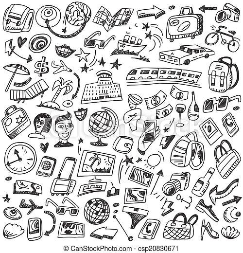 doodles, viagem - csp20830671