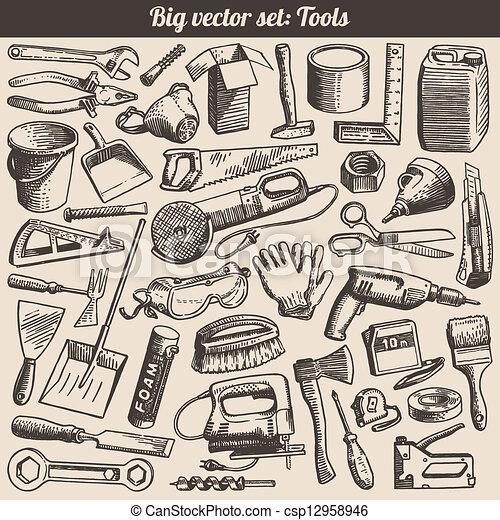 doodles, wektor, komplet, narzędzia - csp12958946