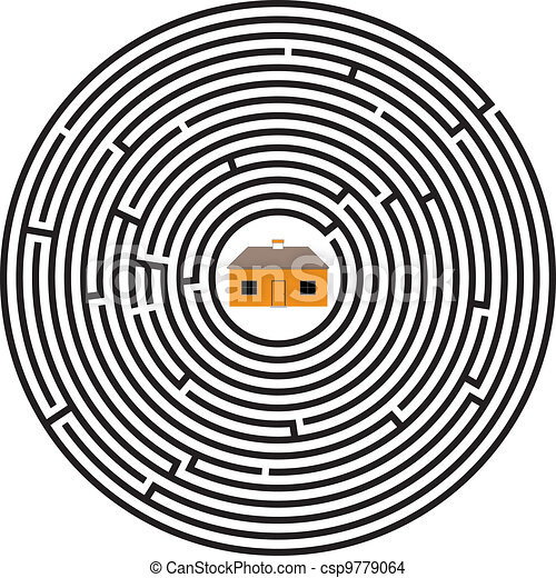 doolhof, ellips, woning - csp9779064