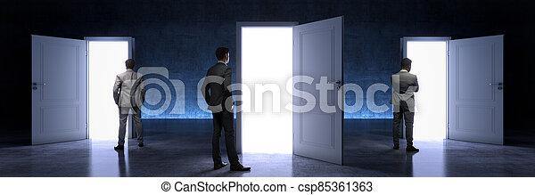 door and businessman, door to new opportunity. 3d rendering - csp85361363