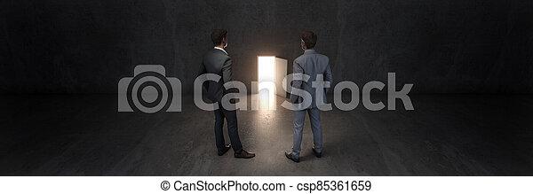 door and businessman, door to new opportunity. 3d rendering - csp85361659