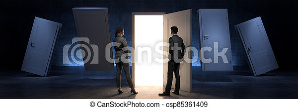 door and businessman, door to new opportunity. 3d rendering - csp85361409