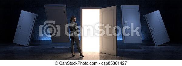 door and businesswoman, door to new opportunity. 3d rendering - csp85361427