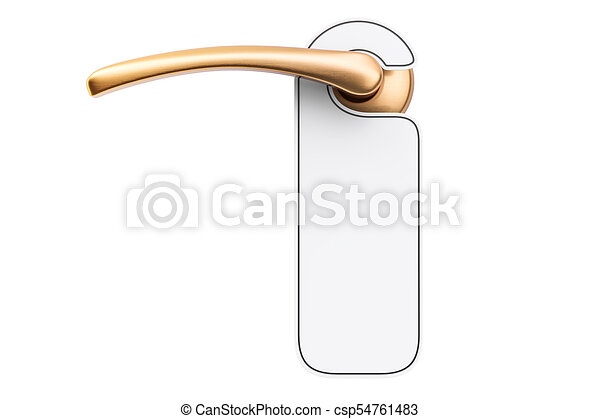 Door Handle With Blank Sign 3d Rendering