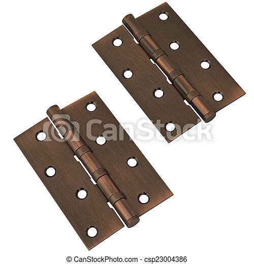 Door hinges on white - csp23004386