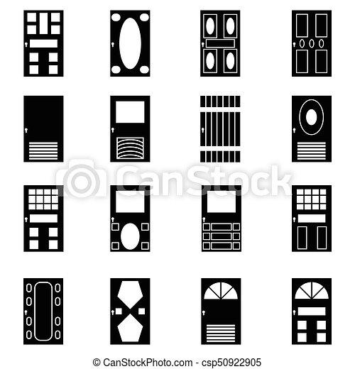 door icon set - csp50922905